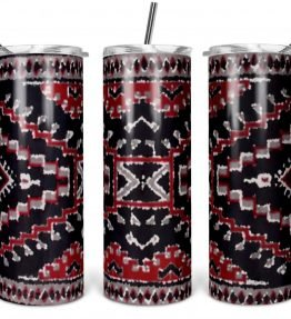 """Crystal Rug"" Navajo Art on 20oz Stainless Steel Tumbler with Straw"
