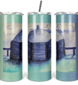 """""""Midwinter Home"""" Navajo Art on 20oz Stainless Steel Tumbler with Straw"""