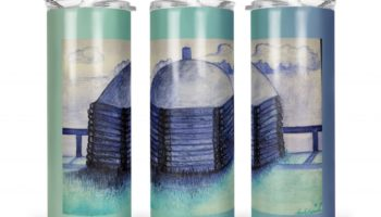 """Midwinter Home"" Navajo Art on 20oz Stainless Steel Tumbler with Straw"
