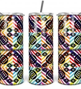 """""""Tribal Pattern 9"""" Navajo Art on 20oz Stainless Steel Tumbler with Straw"""