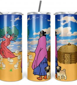 """""""Watching the Sheep"""" Navajo Art on 20oz Stainless Steel Tumbler with Straw"""