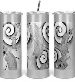 """""""Whirly Warriors"""" Navajo Art on 20oz Stainless Steel Tumbler with Straw"""