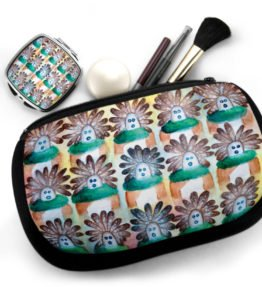 """15 in the Beginning"" Navajo Art on Cosmetic Bag with Mirror Compact"