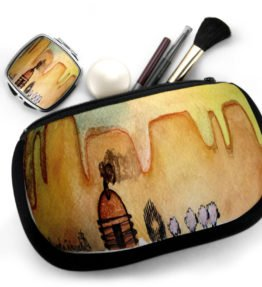 """AM Herd Out"" Navajo Art on Cosmetic Bag with Mirror Compact"