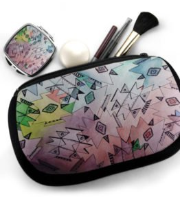 """Above and Beyond"" Navajo Art on Cosmetic Bag with Mirror Compact"