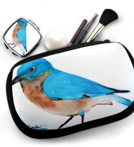 """Blue Bird"" Navajo Art on Cosmetic Bag with Mirror Compact"