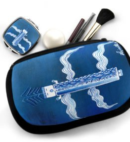 """Blue Corn"" Navajo Art on Cosmetic Bag with Mirror Compact"