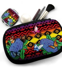 """Butterflies Repose"" Navajo Art on Cosmetic Bag with Mirror Compact"