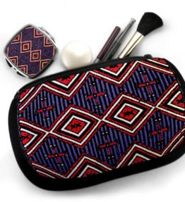 """Chiefs Rug"" Navajo Art on Cosmetic Bag with Mirror Compact"