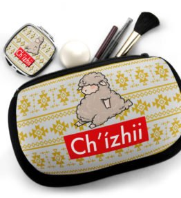 """Chi'zhii"" Navajo Art on Cosmetic Bag with Mirror Compact"