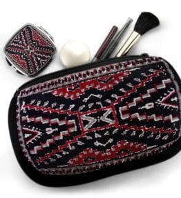 """Crystal Rug"" Navajo Art on Cosmetic Bag with Mirror Compact"