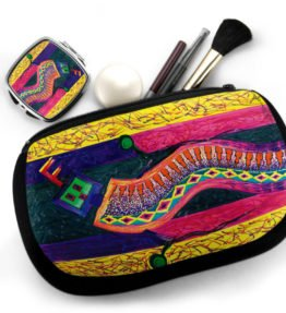 """Enthusiastic Dancer"" Navajo Art on Cosmetic Bag with Mirror Compact"