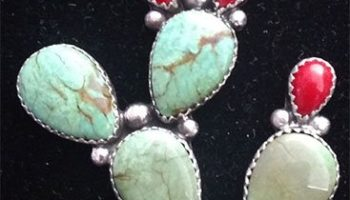 Turquoise and Coral Cactus Pendant