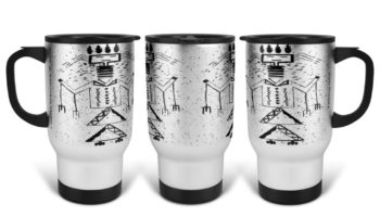"""Talking God"" Navajo Art on 14 Ounce Travel Mug"