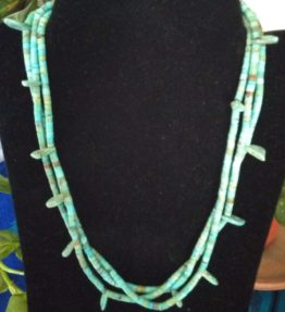 Three Strand Mixed Turquoise Necklace with Round and Tear Drop Beads