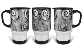 """Whirly Warriors"" Navajo Art on 14 Ounce Travel Mug"