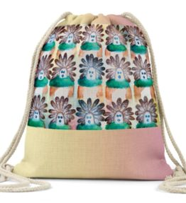 """15 in the Beginning"" Navajo Art on Drawstring Backpack"