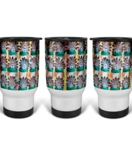 """15 in the Beginning"" Navajo Art on 14 Ounce Travel Mug"