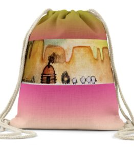 """AM Herd Out"" Navajo Art on Drawstring Backpack"