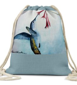 """Bearer of Good News"" Navajo Art on Drawstring Backpack"