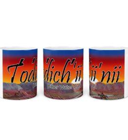 """Todich'ii'nii (Bitter Water Clan)"" Navajo Clan 11 Oz Mug with Dawn Background"