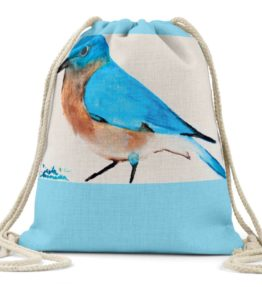 """Blue Bird"" Navajo Art on Drawstring Backpack"