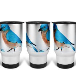 """Blue Bird"" Navajo Art on 14 Ounce Travel Mug"