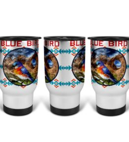 """Blue Bird in Window Rock"" Navajo Art on 14 Ounce Travel Mug"