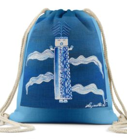 """Blue Corn"" Navajo Art on Drawstring Backpack"