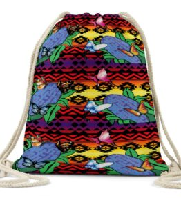 """Butterflies Repose"" Navajo Art on Drawstring Backpack"