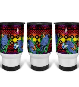 """""""Butterflies Repose"""" Navajo Art on 14 Ounce Travel Mug"""
