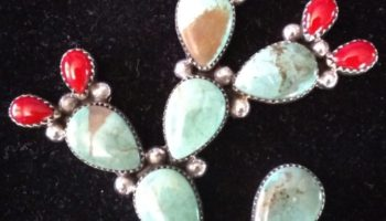 Large Turquoise and Coral Cactus Pendant