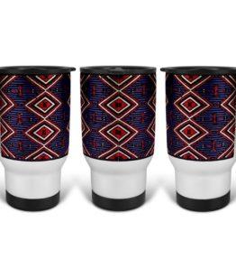 """Chiefs Rug"" Navajo Art on 14 Ounce Travel Mug"