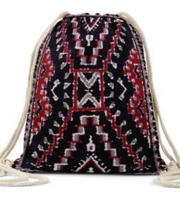 """Crystal Rug"" Navajo Art on Drawstring Backpack"