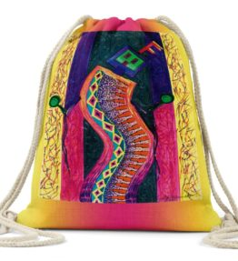 """Enthusiastic Dancers"" Navajo Art on Drawstring Backpack"