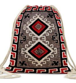 """Ganado Red Rug"" Navajo Art on Drawstring Backpack"
