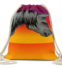 """Great Horse"" Navajo Art on Drawstring Backpack"