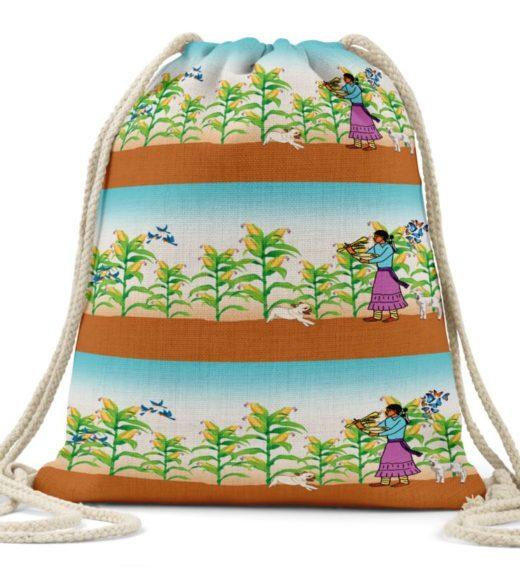 Harvest the Corn Linen Drawstring Bag