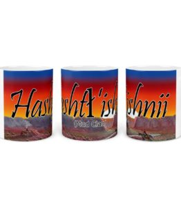 """Hashtl'ishnii (Mud Clan)"" Navajo Clan 11 Oz Mug with Dawn Background"