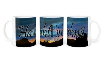 """Hashtl'ishnii (Mud Clan)"" Navajo Clan 11 Oz Mug with Dusk Background"