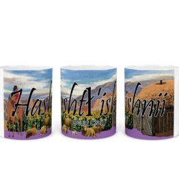 """Hashtl'ishnii (Mud Clan)"" Navajo Clan 11 Oz Mug with Navajo Mountain Background"