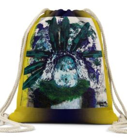 """Ready to Chant"" Navajo Art on Drawstring Backpack"