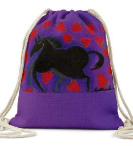 """Strawberry"" Navajo Art on Drawstring Backpack"