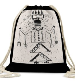 """Talking God"" Navajo Art on Drawstring Backpack"