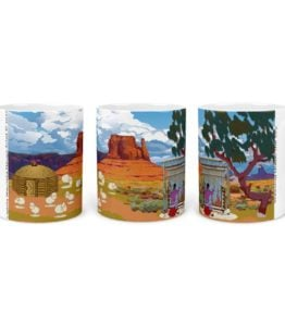 """Navajo Mountain"" Navajo Art on 11 Ounce White Coffee Mug"