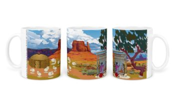 """Navajo Mountain"" Navajo Art on 11 Ounce White Coffee Mug"