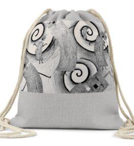 """Whirly Warriors"" Navajo Art on Drawstring Backpack"
