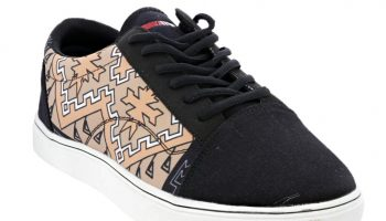 """Klagetoh Rug"" Navajo Art on Black Canvas Shoe"