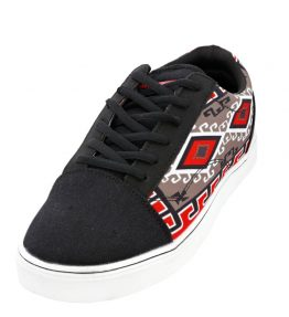 """Ganado Red Rug"" Navajo Art on Black Canvas Shoe"